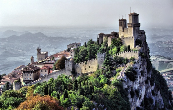 Picture the sky, landscape, mountains, the city, castle, rocks, home, structure, country, San Marino