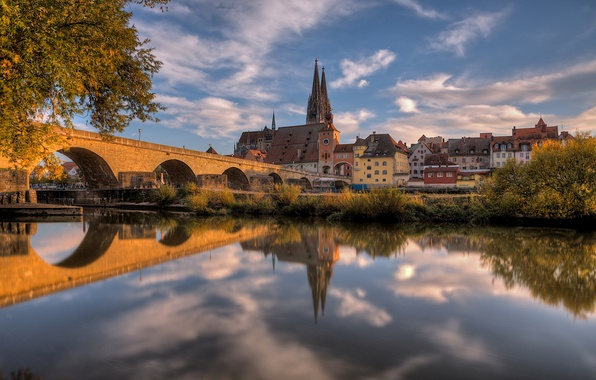 Picture autumn, the sky, reflection, trees, bridge, river, HDR, home, Germany, Bayern, Cathedral, Regensburg, October
