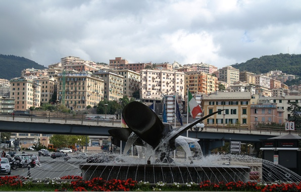 Photo wallpaper mountains, home, Italy, fountain, Genoa, the area in front of the Maritime station