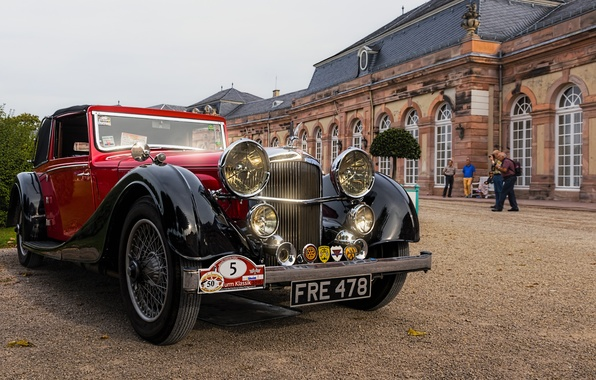 Picture retro, Germany, classic, Germany, Baden-Württemberg, Baden-Württemberg, Svetlansky Palace, Schwetzingen Palace, 1937 Alvis Speed 25