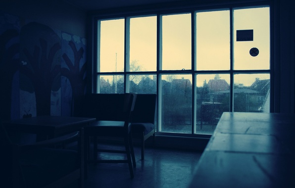 Picture drops, darkness, room, rain, window