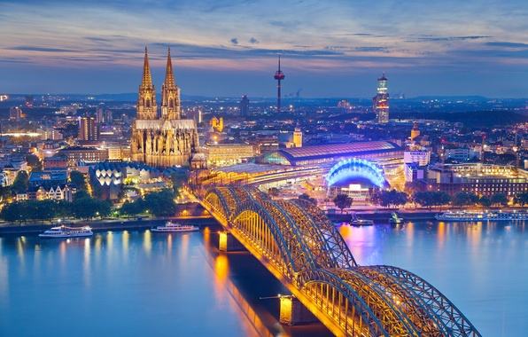 Picture the sky, night, bridge, lights, river, tower, station, Germany, Cathedral, Cologne