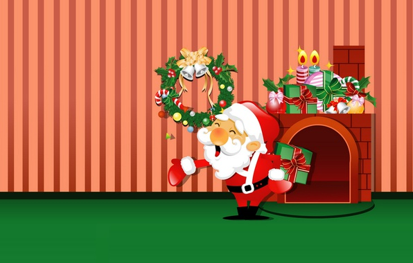 Picture mood, holiday, art, gifts, New year, fireplace, Santa Claus, children's