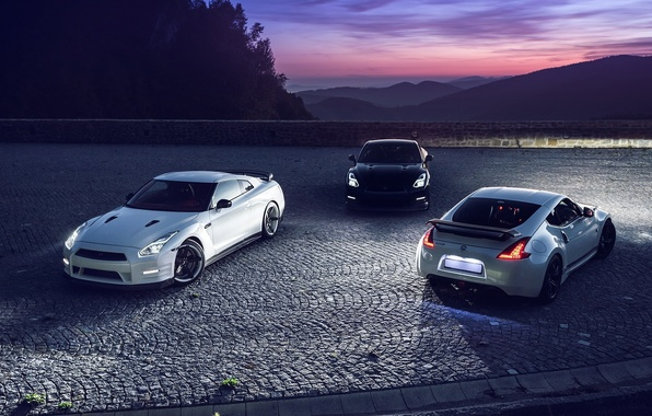 Picture GTR, Moon, Nissan, Sky, Front, Black, Mountain, Lights, White, R35, 370Z, Rear, Nigth