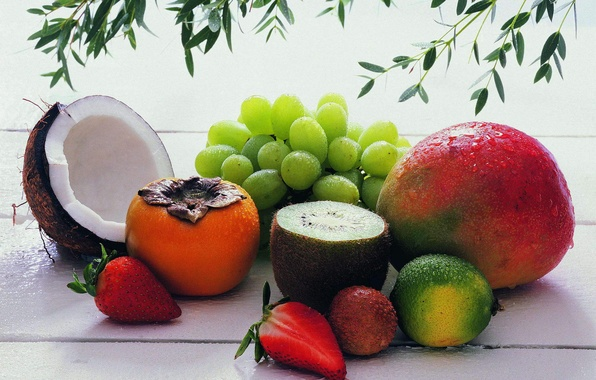 Picture food, coconut, kiwi, strawberry, grapes, fruit, delicious, persimmon