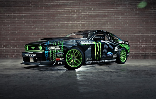 Picture Mustang, Ford, Drift, Wall, Green, Black, RTR, Monster Energy, Team, Competition, Sportcar, Vaughn Gittin Jr