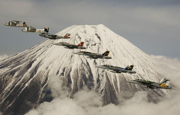 Picture flight, aviation, mountain, the volcano, fighters, Fuji