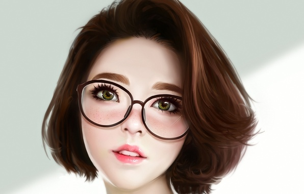 Picture look, girl, face, beauty, art, glasses, asian