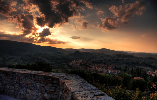 Picture sunset, Italy, Italy, Tuscany, Toscana