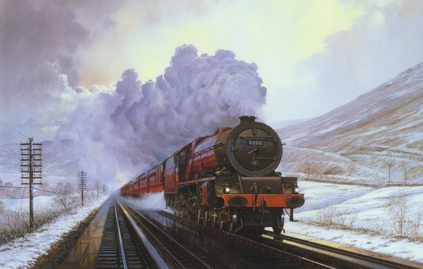 Picture winter, snow, landscape, mountains, smoke, train, the engine, picture, the car, canvas