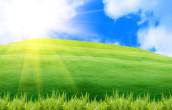 Picture greens, summer, the sky, grass, the sun, rays, light, nature, mood, dawn, hills, landscapes, positive, …
