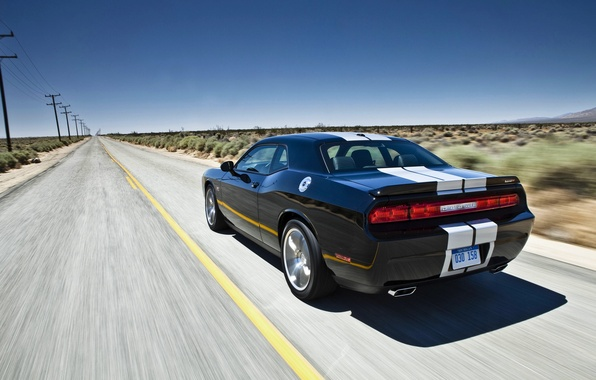 Picture Road, Black, Strip, Machine, Day, Dodge, challenger, In Motion