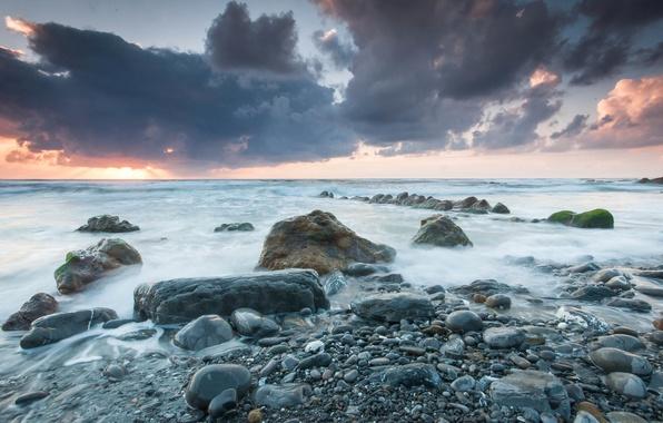 Picture sea, the sky, clouds, landscape, sunset, clouds, stones, shore