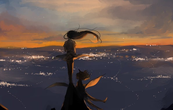 Picture the sky, girl, the wind, hair, anime, art