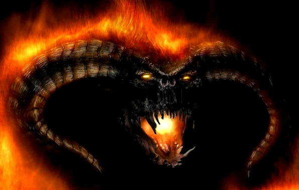 Picture fire, monster, the Lord of the rings, fantasy, Barlok
