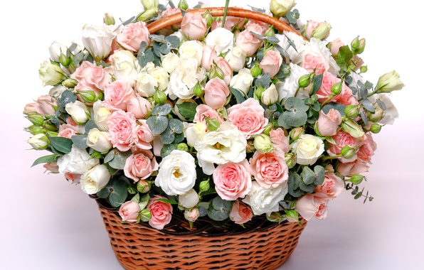 Picture basket, roses, bouquet, gentle, Rose, beautiful, lovely, basket, eustoma, chic, wicker