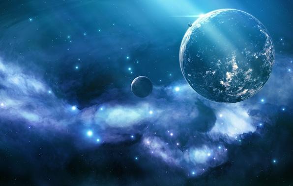 Picture space, nebula, lights, planet, stars, Blue nebula, unknown planet