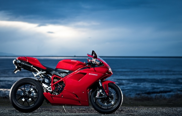 Picture the sky, red, clouds, the ocean, profile, red, ducati, Ducati, 1098