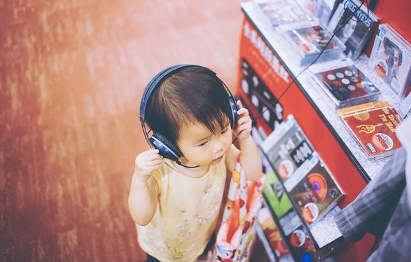 Picture music, boy, headphones