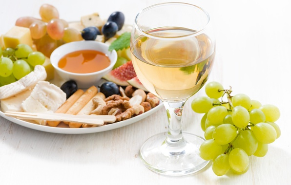 Picture wine, glass, cheese, honey, grapes, nuts, figs