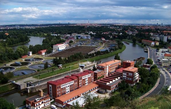 Picture road, machine, the city, river, building, Prague, Czech Republic