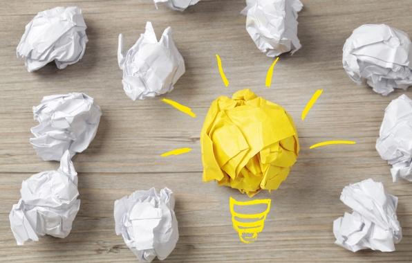 Picture light bulb, surface, light, paper, creative, positive, white, paper, yellow, center, the idea, hi-tech, wallpaper., …