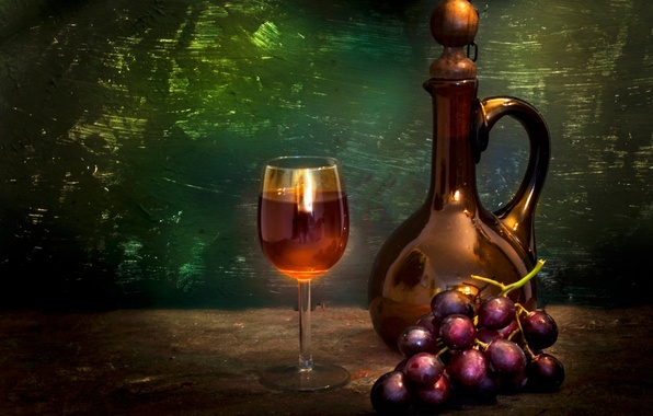 Picture glass, bottle, grapes, bunch, Still life