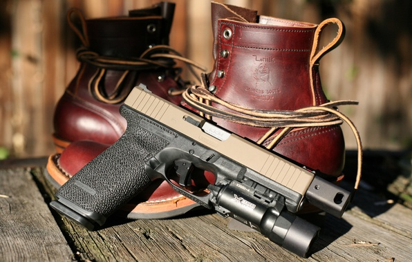 Picture gun, weapons, shoes, Glock, self-loading