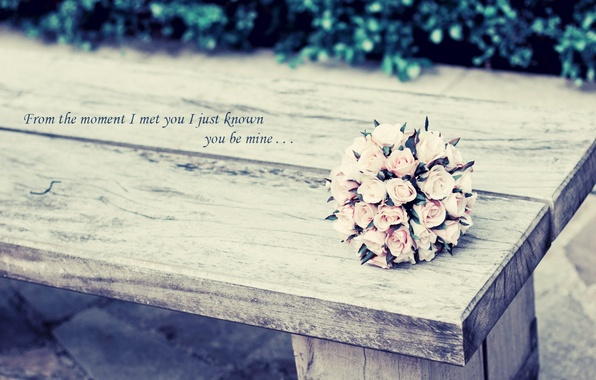 Picture greens, leaves, flowers, background, the inscription, Wallpaper, mood, roses, bouquet, pink, lsita