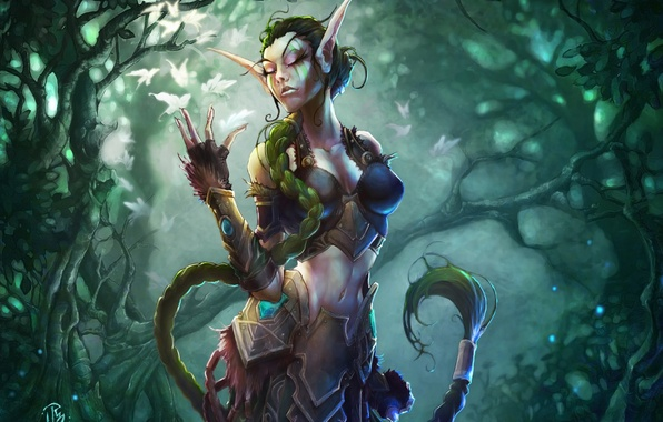Picture girl, trees, armor, braid, wow, world of warcraft, pointy ears, ysera