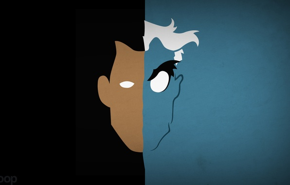 Picture minimalism, Batman, two-faced, Two-Face, DC Comics, blo0p, Harvey Dent