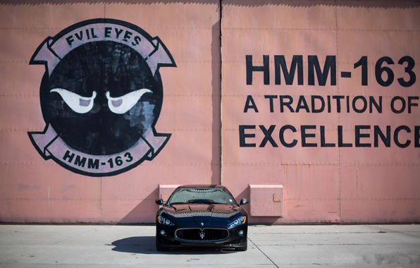 Picture wall, black, the inscription, Maserati, shadow, black, Maserati, the front, MC Road, Granturismo, GranTurismo, bitonic …