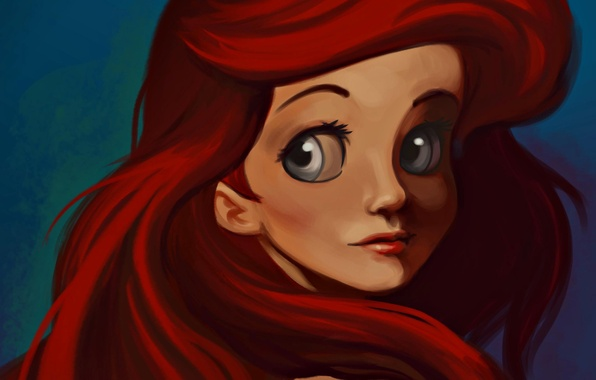 Picture eyes, paint, hair, figure, red, large, Ariel, the little mermaid