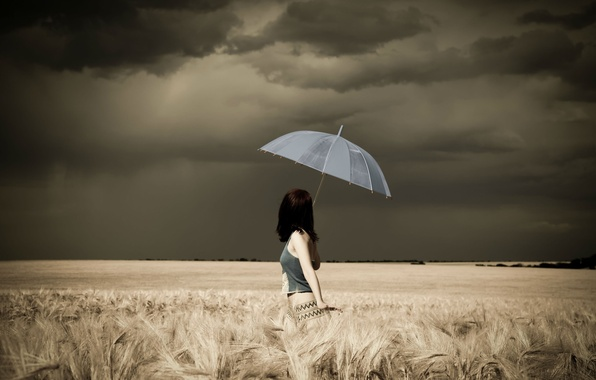 Picture the storm, field, Girl, umbrella