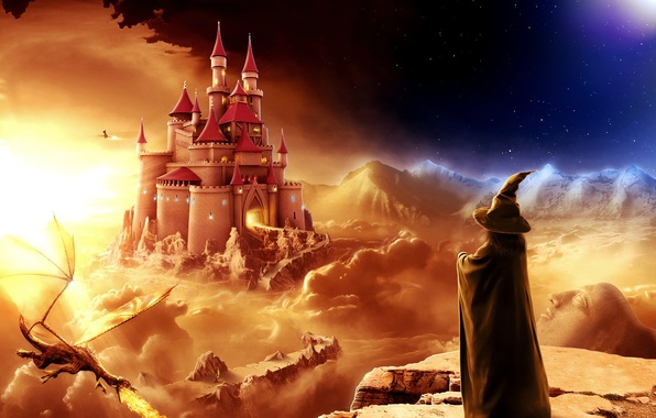 Picture fantasy, castle, dragon, the evening, MAG
