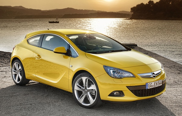 Picture landscape, sunset, lake, Opel, Astra, GTC