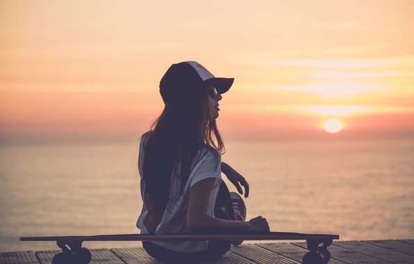 Picture sea, girl, the sun, sunset, river, background, Wallpaper, mood, glasses, wallpaper, cap, Board, widescreen, background, …