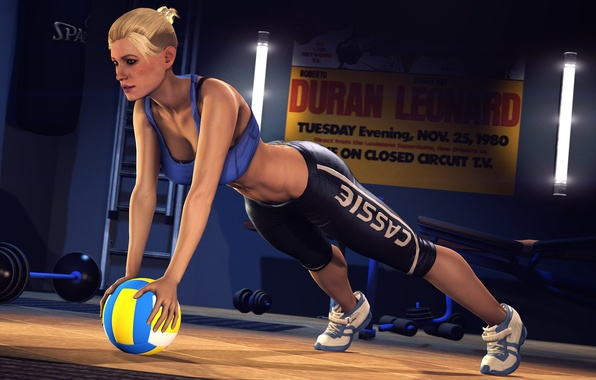 Picture girl, the ball, fighter, Mortal Kombat, the gym, training, Cassie Cage