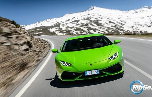 Picture Lamborghini, Top Gear, Green, Front, Supercar, Huracan, LP610-4, Mountain Road
