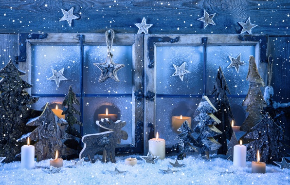 Photo Wallpaper Vintage Happy New Year Snow Window Merry Winter