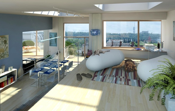 Picture design, the city, style, interior, penthouse, apartment, living space