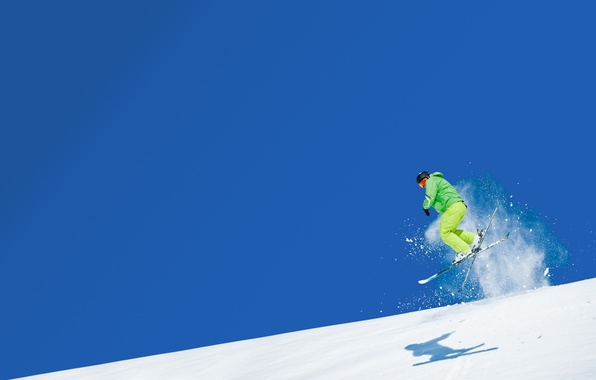 Picture the sky, snow, mountains, jump, sport, ski, skier