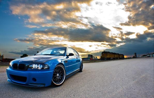 Picture road, clouds, blue, yellow, bmw, BMW, train, iron, sky, blue, clouds, train, e46, day svetiba