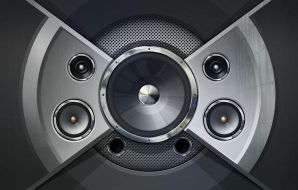 Picture music, b/W, speakers, acoustics