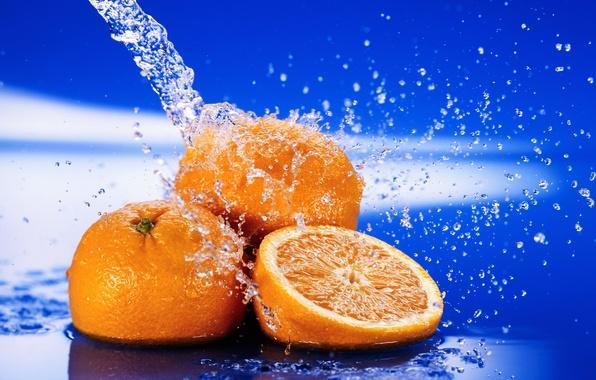 Picture water, drops, macro, squirt, freshness, oranges, citrus