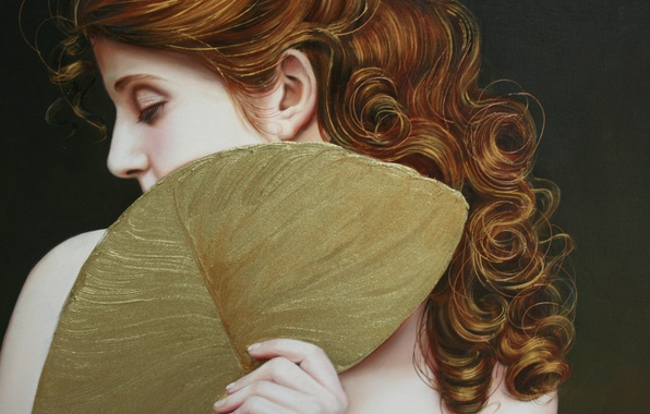 Picture girl, face, hair, hand, fan, art, profile, red, curls, green background, Christiane Vleugels