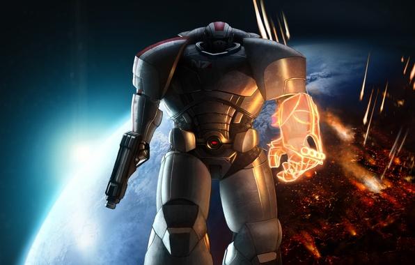 Picture space, planet, range, armor, Warhammer 40000, mass effect, shepard, fan art, Warhammer 40K, WH40K