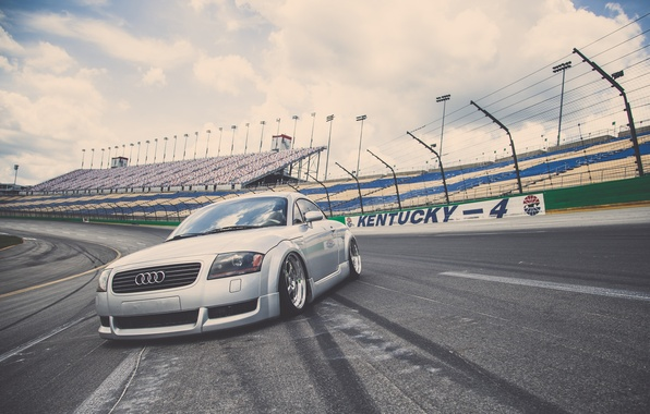 Picture Audi, Audi, sports car, silver, track, stance