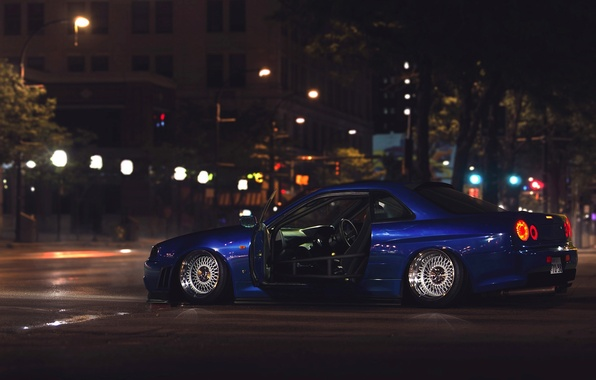 Picture GTR, City, Nissan, Car, Street, Skyline, R34, Stance, Low, Rear, Nigth