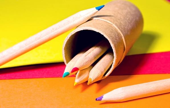 Picture PAPER, PENCILS, COLORED, Pencil CASE